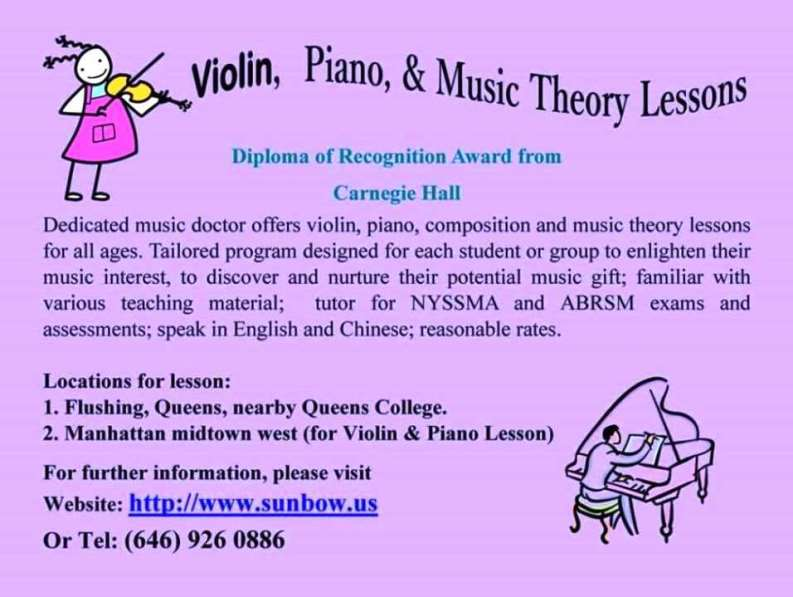 Violin, Piano,& Music Theory Lesson for All Ages